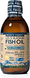 Wiley's Finest Wild Alaskan Fish Oil - Peak Omega-3 Liquid 2150mg EPA + DHA Omega-3 Natural Supplement 50 Servings