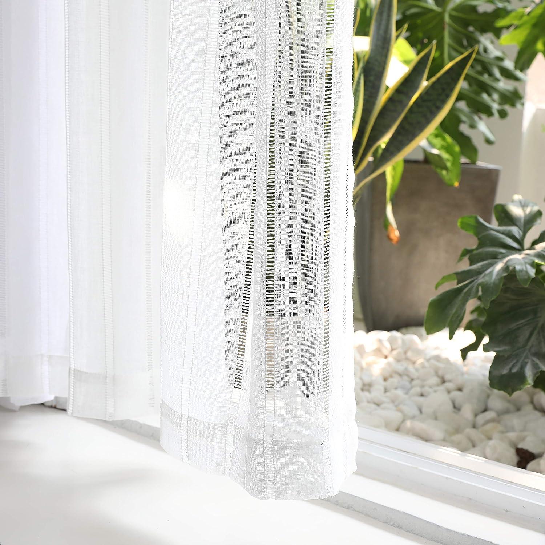 Set of 2 Home Brilliant Premium Linen Look Semi Sheer Net Curtains 45 inch Drop