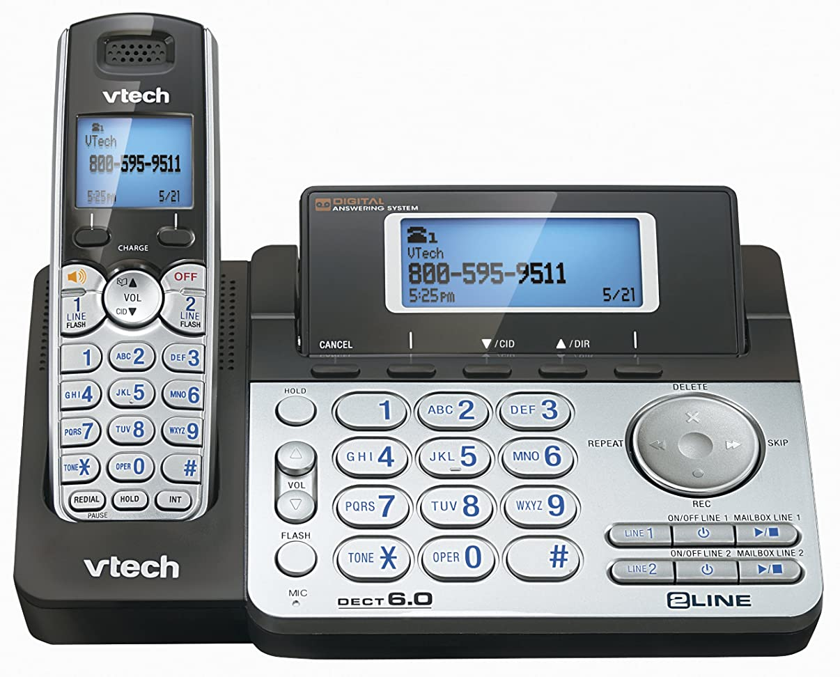 Vtech Ds6151 Dect 6.0 2-line Expandable Cordless Phone With Answering System, Silver/black With 1 H