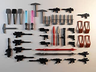 Lot of 40 Weapons Accessories for Lego Mini Figures. New!! Military Satchel Knife Swords Guns