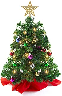 Prextex 22 Inch Tabletop Mini Christmas Tree Set with Warm-White LED Lights, Star Treetop and Hanging Ornaments for DIY Christmas Decorations