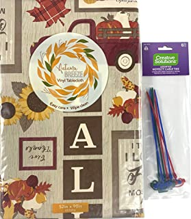 Fall Farmhouse Decor Flannel Vinyl Tablecloth: Colorful Pictorial Farm Truck Sunflowers Cornucopia Pumpkins Harvest Greeti...