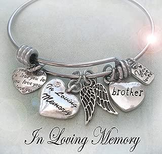 In Loving Memory Brother Memorial Bangle Bracelet, Grieving Sister Gift, Bereavement, Sympathy Gift, Teens, Medium Women or Large