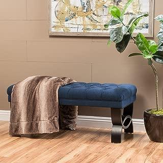"Christopher Knight Home Living Reddington Dark Blue Tufted Fabric Ottoman Bench, 17.25""D x 41.00""W x 16.75""H"