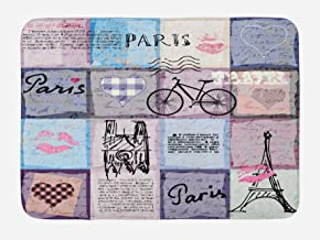 Ambesonne Paris Bath Mat, Grunge Textured Retro Collage of Paris with Famous Object Eiffel Tower Europe Theme, Plush Bathroom Decor Mat with Non Slip Backing, 29.5