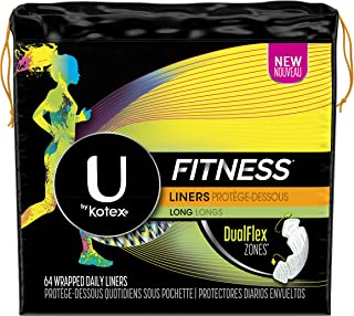 U by Kotex Unscented Long Light Absorbency Fitness Panty Liners, 64 Count ( Pack Of 6 ) ( Pack May Vary )