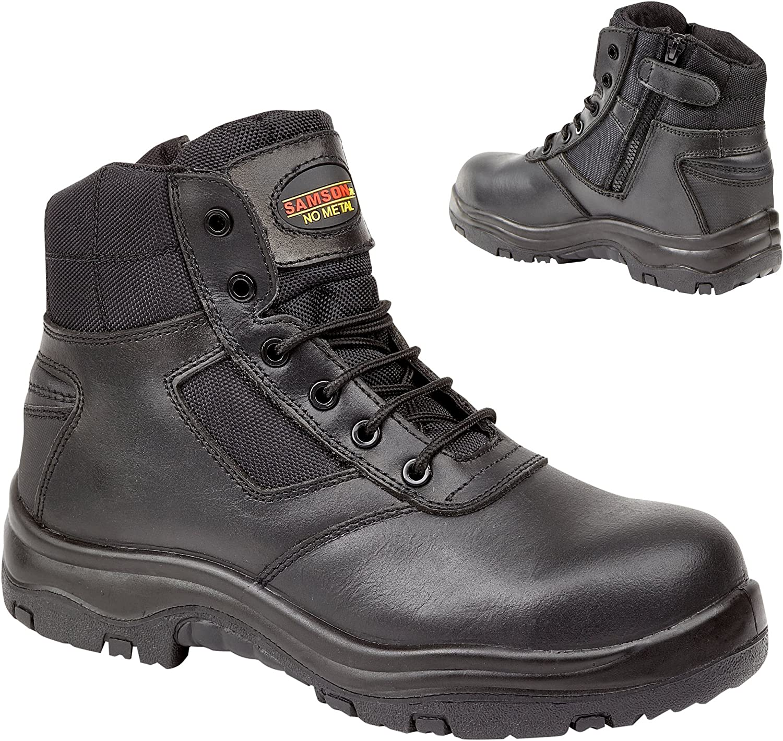 Metal Free Composite Toe Cap Black Leather Zip Safety Work Boots Samson XL 7109 (UK 15)