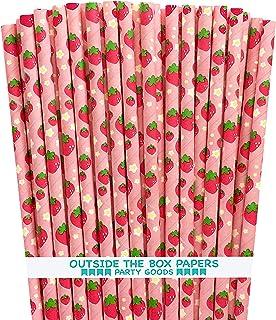 ماصات ورقية بنمط فراولة - وردي أحمر أخضر - 7.75 بوصة - 75 عبوة