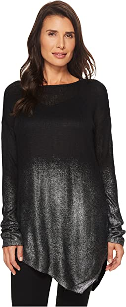 TWO by Vince Camuto - Long Sleeve Asymmetrical Hem Foil Ombre Dip-Dye Sweater
