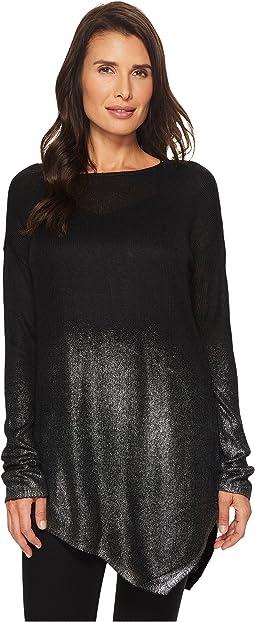 Long Sleeve Asymmetrical Hem Foil Ombre Dip-Dye Sweater