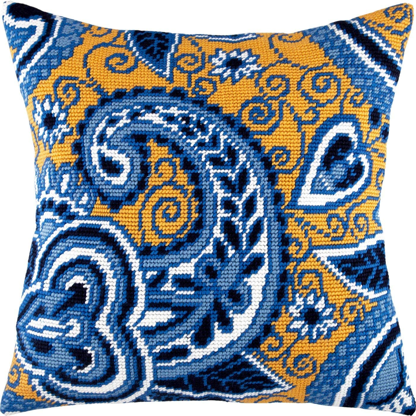 Azure and Gold. Needlepoint Kit. P 16×16 Throw Pillow Inches. Luxury Max 63% OFF