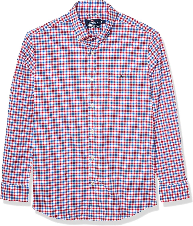 vineyard vines Men's Classic Fit Long-Sleeve Grouper On-The-go Performance Tucker Shirt