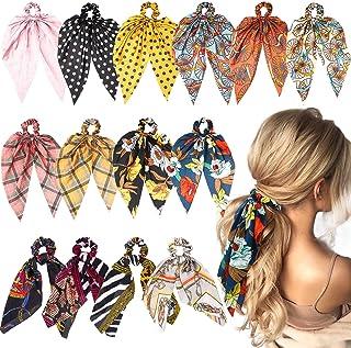 WATINC 14 Pcs Bowknot Hair Scrunchies Silk Satin Scarf Hair Ties Chiffon Floral Scrunchie 2 in 1 Vintage Ponytail Holder w...