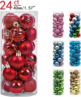 Valery Madelyn 24ct 40mm Essential Red Basic Ball Shatterproof Christmas Ball Ornaments Decoration,Themed with Tree Skirt(Not Included)
