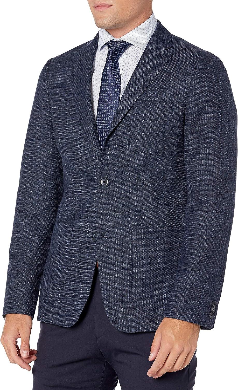 Perry Ellis Men's Slim Fit Solid Textured Sport Jacket, Estate Blue, Large/42 Long