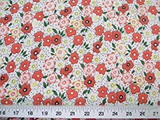 Discount Fabric Challis Rayon Orange, Yellow and Green Floral 2 yds @ $6.99 J401