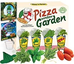 Children's Organic 4 Plant Kit - Pizza Window Garden from PlaynGrow 4 Complete Indoor Grow Sets -Pre-Seeded Planter, Soil Greenhouse Dome, Water Tray, Cup, Growing Guide, Diary. Educational Kid's Gift