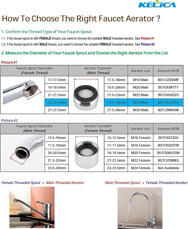 Kelica M28M Universal Faucet Replacement Part Faucet Aerator Kit Tap Flow Restrictor For Bathroom Lavatory or Kithen Sink Faucet or Bidet Faucet Chrome Finish 3 PCS//Pack
