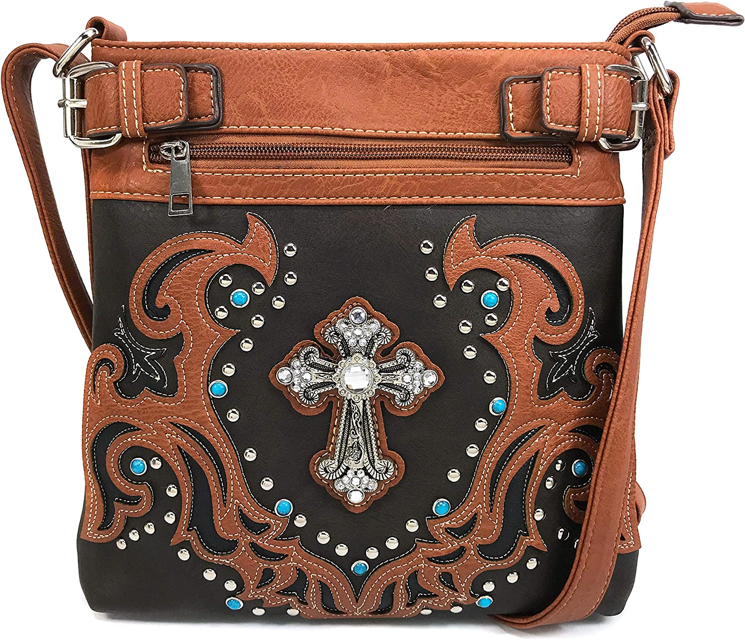 Justin West Concealed Carry Western Spring Max 46% OFF new work Longhorn Star Buckle Tritone