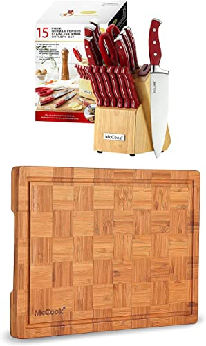 """popular McCook MC24 German Stainless Steel Knife Block Sets popular with Built-in Sharpener + MCW12 Bamboo outlet online sale Cutting Board (Large, 17""""x12""""x1"""") outlet sale"""