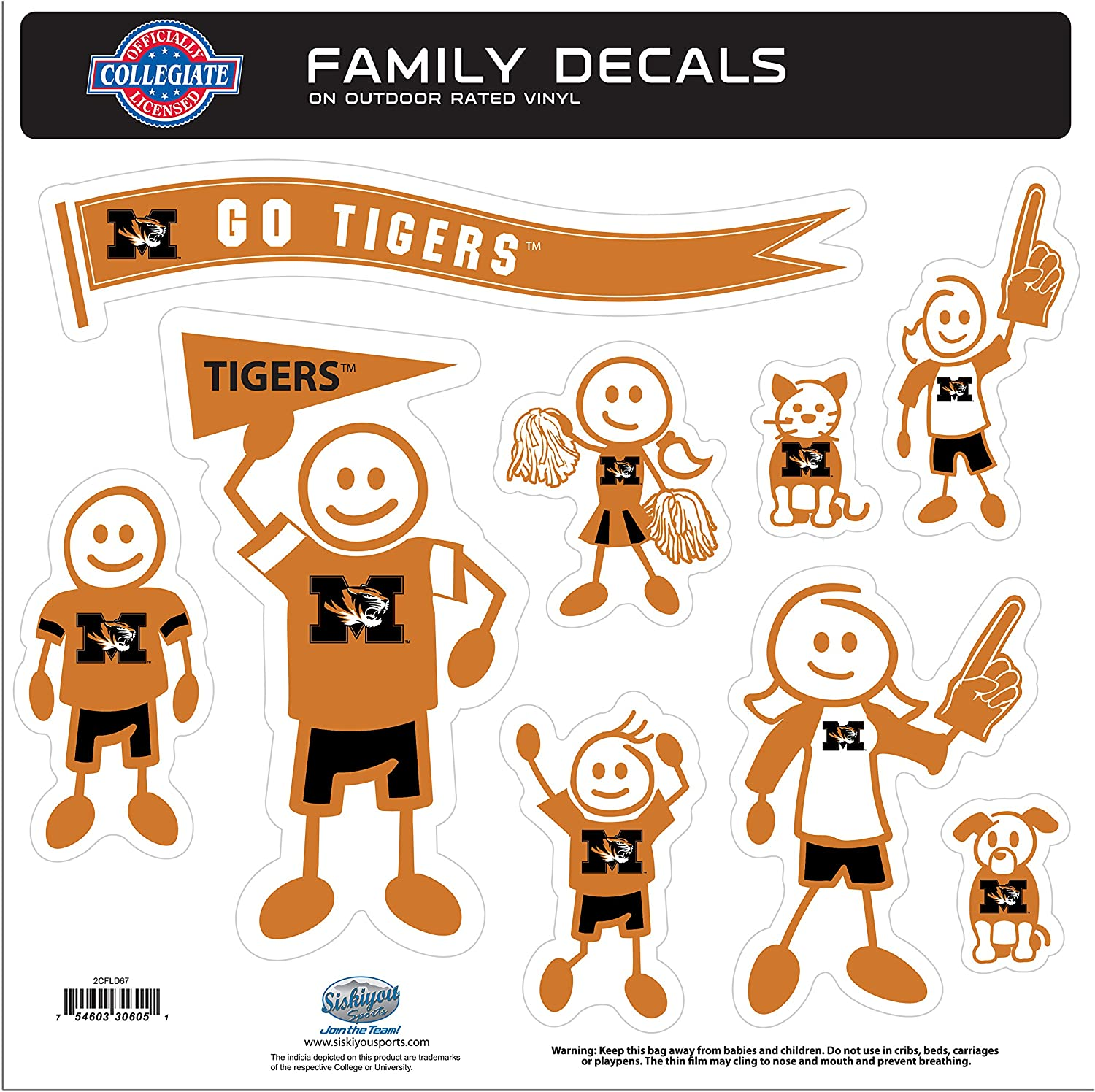 NCAA Siskiyou Sports Max 65% OFF Fan Shop Missouri L Tigers Family Set OFFicial Decal