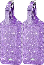 [2 Pack] Luggage Tags - HOTCOOL Leather Luggage Tags Travel Bag Tags, Glitter Purple