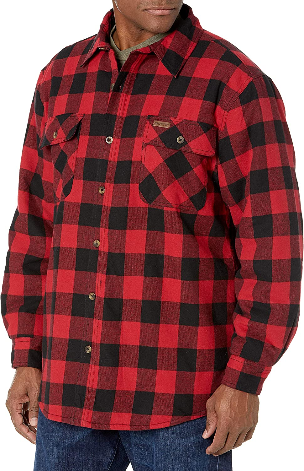 Smith's Workwear mens Sherpa Lined Flannel Shirt Jacket