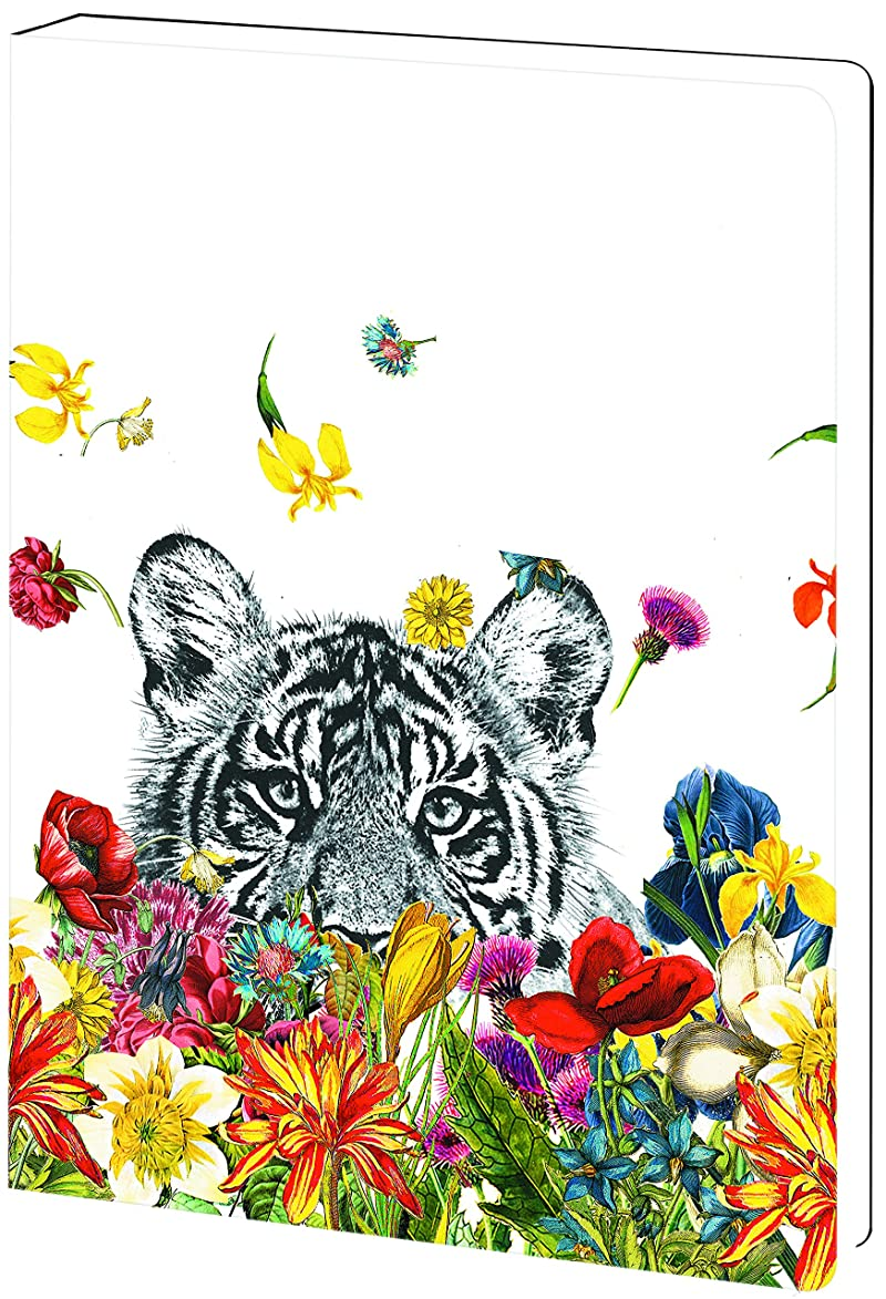 Tree-Free Greetings, Soft Cover Journal Notebook, 160 Lined Pages, 5.5 x 7.5 x 0.75 Inches, White Tiger Flowers  (JR89930)