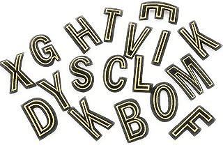 MAREL Patch Buchstaben Bestickt hoch 6 cm auf schwarzem Tuch mit Goldstickerei
