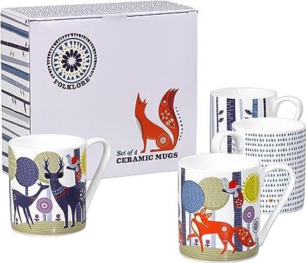 Preisvergleich für Folklore Keramik-Tassen, weiß mit Blauem Rand, 4Stück