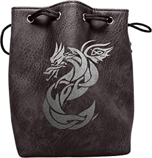Black Leather Lite Large Dice Bag with Celtic Knot Dragon Design - Black Faux Leather Exterior with Lined Interior - Stands Up on its Own and Holds 400 16mm Polyhedral Dice