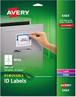 Avery Removable 3-1/3 x 4 Inch White ID Labels 150 Pack (6464)