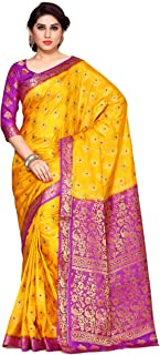 MIMOSA Women's Kanchipuram Art Silk Saree With Unstitched Blouse Piece (4141-206-2D-GLD-LEV_Yellow)
