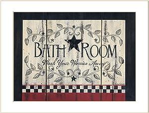 Trendy Decor4U Bathroom by Linda Spivey Printed Wall Art, 18 Inch x 14 Inch, Black