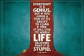 Get Motivation Everybody is a Genius….Albert Einstein Poster 12 x18 inch