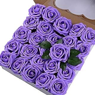 Breeze Talk Artificial Flowers Lavender Roses 50pcs Realistic Fake Roses w/Stem for DIY Wedding Bouquets Centerpieces Arrangements Party Baby Shower Home Decorations (50pcs Lavender)