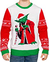 Star Wars Jedi Yoda Dressed As Santa Adult LED Light Up Candy Cane Ugly Christmas Sweater
