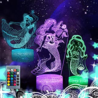Ourcan 3D Night Lights for Kids - 3D Mermaid Night Lamps 16 Colors Changeable nightlight with Timer& Remote Control as Gifts for Girls Women,Mermaid Gifts 1 2 3 4 5 6 7 8 Year Old Girls Gifts