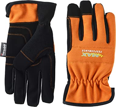 Midwest Gloves & Gear MX450THOR-L-AZ-6 Men's Max Performance Glove with Thinsulate Insulation, Size Large, Orange