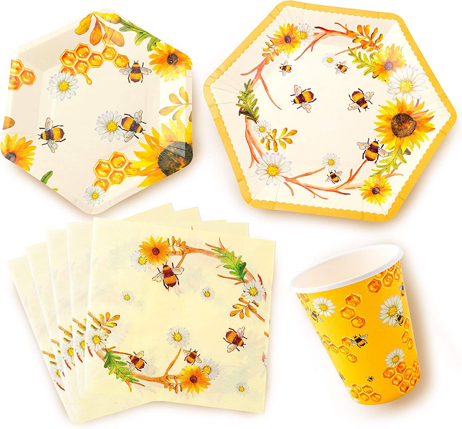 Bee Party Supplies Bumble Bee Party Decorations Includes Dinner Plates Dessert Plates Cups Napkins For Birthday kids Baby shower Parties Serves 16