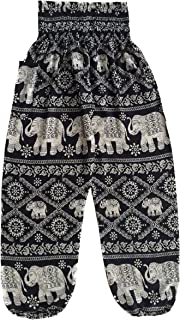 Love Quality Baggy Printed Elephant Print Hippie Yoga Pants (Black)