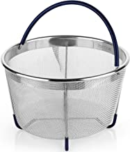 PerfeCome Steamer Basket for 6 Qt Pressure Cooker, fits Instant Pot 6 & 8 Quart, Ninja Foodi & Other - Vegetable & Egg Stainless Steel Mesh Insert with Silicone Handle & Non-Slip Legs
