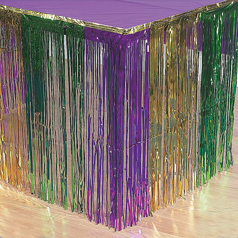 Fun Express Mardi Gras Metallic Fringe Table Skirt For Mardi Gras Party Supplies Table Covers Table Skirts Mardi Gras 1 Piece