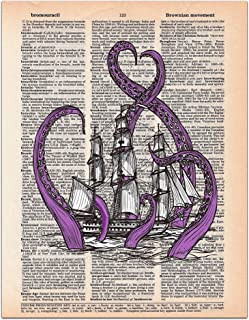 The Kraken, Purple Sea Monster, Old Ship, Dictionary Page Art Print, 8x11 inches, Unframed