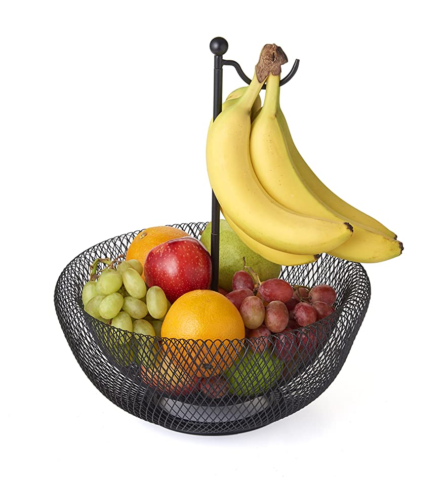 NIFTY 7640FB-BLK Banana Hook Mesh Fruit Bowl, 1 Size, Black
