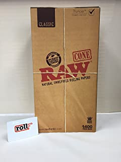 RAW Pre-Rolled Cone 1400 Pack Classic (King Size) and Roll With Us Scoop Card
