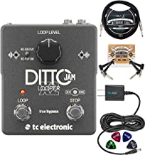 TC Electronic Ditto Jam X2 Looper Pedal Bundle with External Microphone, Blucoil Slim 9V 670ma Power Supply AC Adapter, 10-FT Mono Instrument Cable, 2-Pack of Pedal Patch Cables, and 4x Guitar Picks