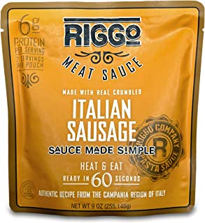RIGGO Pasta Sauce with Meat - 8 Keto Friendly Packets (2 Servings Italian Sausage)