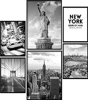 Calias® Lot de 6 posters New York noir et blanc - Pour décoration de salon ou de chambre à coucher - Décoration murale élé...