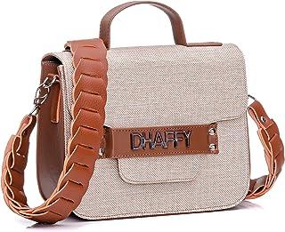 Bolsa feminina Dhaffy Palha Marrom, Alça Artesanal. cor:marrom;tamanho:M
